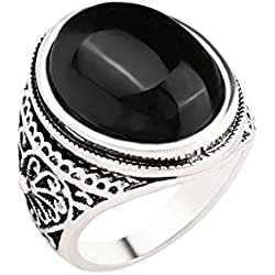 ELECTROPRIME Male Jewelry Party Gift OLD Round Ring Black Crystal Flower Carved Mens Ring