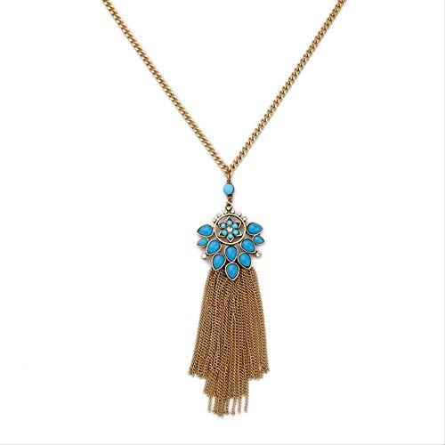 XJJSZJ Anhänger Damenmode Legierung Gold Quaste Halskette Lange Pullover Kette Online Schmuck Halskette