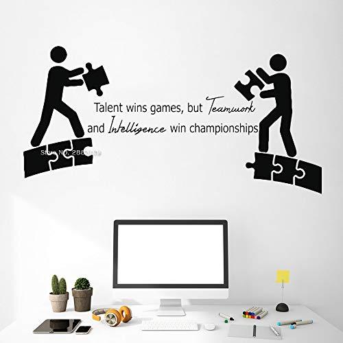 jiuyaomai Ufficio Lavoro di Squadra Citazioni Wall Art Decalcomanie Talenti Vittorie s Lavoro Idea Ispirazione Preventivo Creativo Decorazioni per Ufficio Adesivi in   Vinile L Black 168cm x 84cm