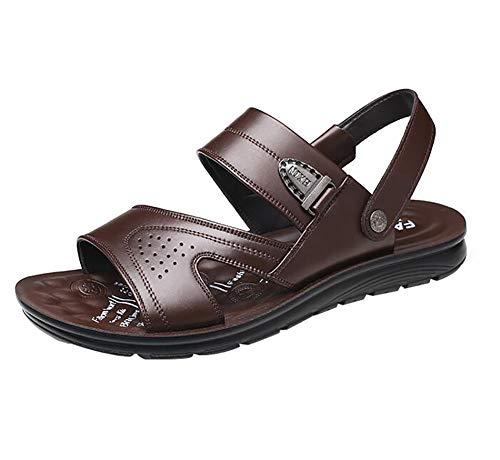 Unbekannt men's open toe cuoio casual scarpe comfort bufalo naturale pelle all'aperto sandali,brown,42