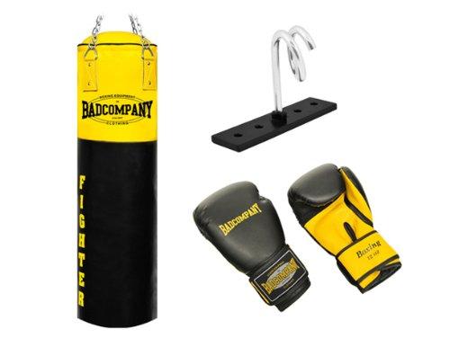 Fighter Box-Set inkl. Boxsack 120 x 35cm gefüllt, PU Boxhandschuhe, Deckenhalterung und Heavy Duty Vierpunkt-Stahlkette