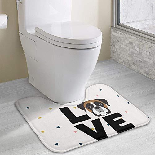 Hoklcvd 1 Love Boxer Dog2 U-förmiges WC Bodenteppich Rutschfeste Toilette Teppiche Duschmatte