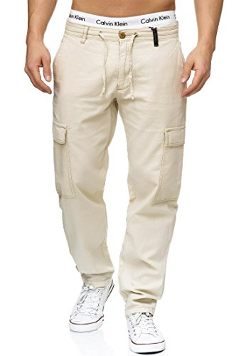 Indicode Herren Leonardo Leinenhose Lange Cargo Hose Bequeme Stoffhose aus hochwertiger Leinenmischung Fog L