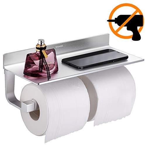 Wangel Porta Carta Igienica Doppio Rullo, Colla Brevettata + Autoadesivo, Alluminio, Finitura Opaca