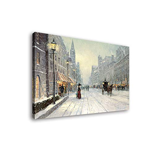 Fajerminart LED Light Leinwand Gemälde, London Street Winter Schneelandschaft Landschaft Abstrakte Malerei Kunst, Geeignet für Wohnzimmer, Schlafzimmer, Größe:30x40cm(Holzrahmen)(LED-Lichtleiste) - London Street Lights