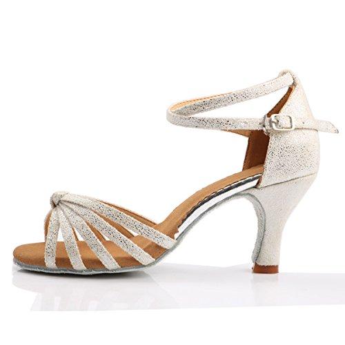 VESI Damen Hoher Absatz Tanzschuhe Standard/Latein Weiß 38(Absatz 5cm) - 2