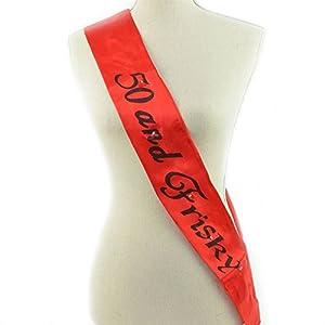 Gifts 4 All Occasions Limited SHATCHI-1215 Shatchi 50 y Frisky - Banda intermitente para 50 cumpleaños, color rojo