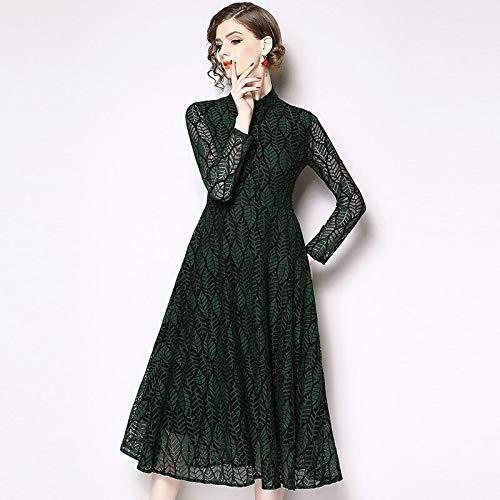 QUNLIANYI Abendkleid Tüll Lang 3XL Plus Size Lace Dress Leaves Stickerei Mesh Mid Dresses Women Hollow Out Elegant Vintage XXXL Grün