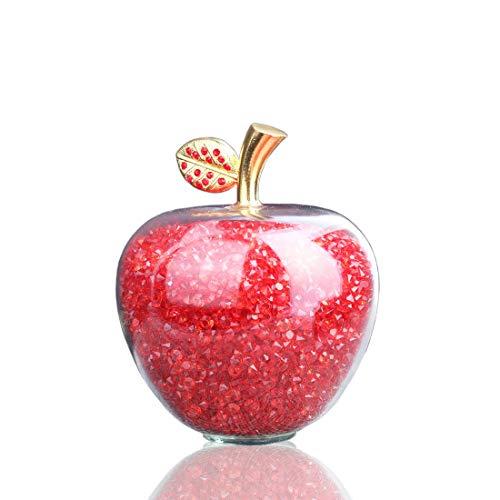 H&D - Estatua de Manzana Tallada de Cristal Rojo de aleación con...