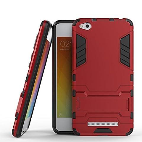 Etui XIAOMI RedMi 4A - 3 Couche Holster Combo Antichoc [Protection Goutte] Soutien Hard Cover Case pour XIAOMI RedMi 4A - Rouge
