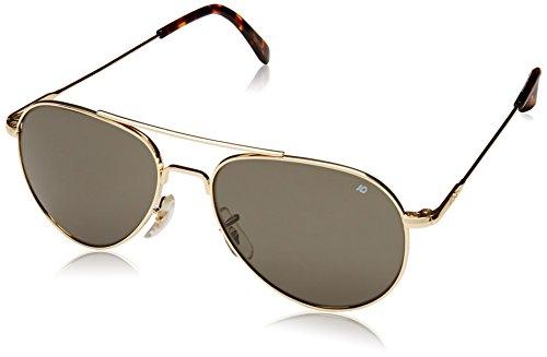 AO Eyewear American Optical General Sonnenbrille, mit Drahtgestell, 52-mm-Rahmen,Goldfarben, graues Glas, Sonnenbrille 30576