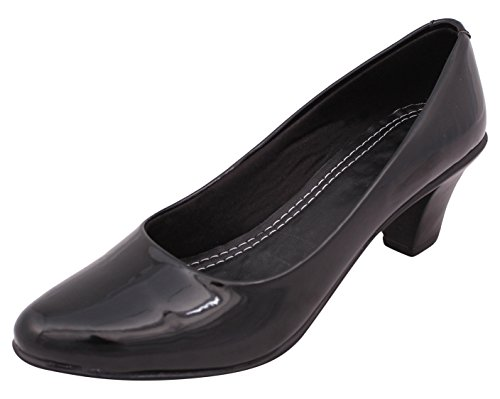 Right Steps Women's Black Leather Heels - 4 UK