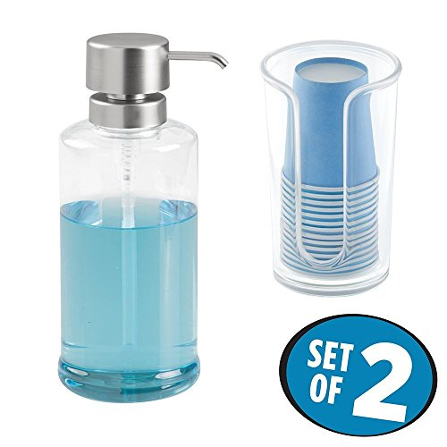 mDesign Juego de 2 accesorios de baño de Resipreme/plástico – Dispensador de líquidos para enjuague bucal y dispensador de vasos con vasos desechables – Set de baño y cocina – transparente/plateado