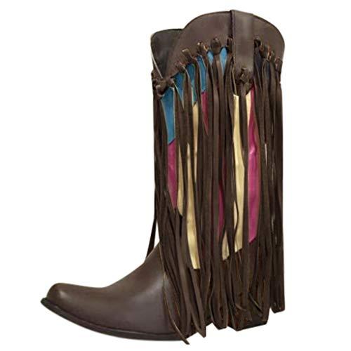 serliyDamen Winter Wildleder mit Fransen Ankle Boots Fashion Low Wedge Heel Booties Quasten Dressy Short Boots Colorblock dick mit Spitzen Quaste Stiefel (Fransen Bootie Wildleder)