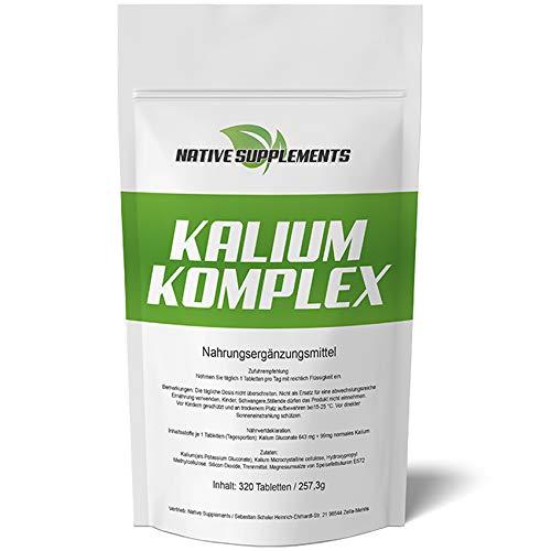 Kalium Komplex, 320 Tabletten, Potassium - Calium - Gluconat, Für Vegetarier & Veganer geeignet, Hochdosiert 643mg + 99mg pro Tablette