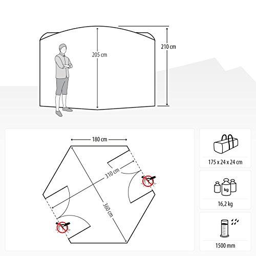 Qeedo Quick Hub 20 Falt-Pavillon (380 x 380 cm), Partyzelt, Event-Shelter & Vorzelt wasserdicht- grau - 2