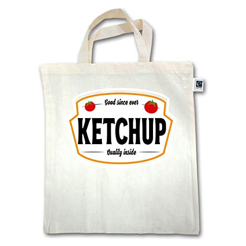 Shirtracer Karneval & Fasching - Ketchup Kostüm Karneval Fasching - Unisize - Natural - XT500 - Jutebeutel kurzer Henkel