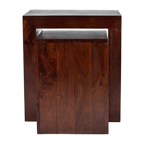 Homescapes Dakota Cube Nest of Tables Dark Shade Solid Mango Wood Living Room Furniture (No Veneer)