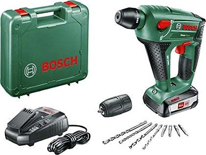 Bosch UneoMaxx - Martillo perforador a batería, 1 batería, cargador, adaptador de vástago redondo, 2 brocas para hormigón SDS-Quick, 2 brocas universales, 4 láminas Bit, maletín (18 V, 2,5 Ah)