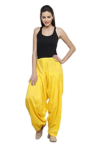 I Shop Traditional Patiala Salwar 100% Cotton Free Size (YELLOW)