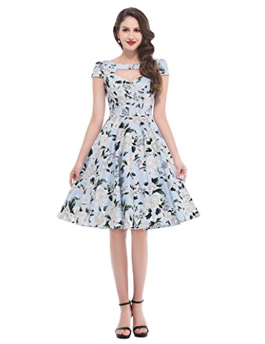 Belle Poque Damen 50er Rockabilly Kleid Petticoat Kleid Vintage Retro Kleid BP008 BP008-2