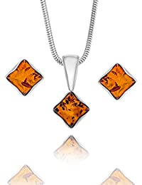 Copal Ladies amber Earrings Silver 925 multicoloured Squares gift Box, Gift sets ladies