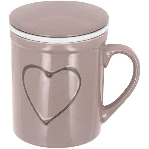 Promobo - Mug Infuseur Tasse Tisanière Avec Filtre Et Couvercle Tag Coeur Relief Gris Taupe