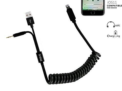 Auto Musik Interface, BMW iPhone 78Y Kabel AUX Lightning Ladekabel Spiralkabel, 3,5mm Audio Jack und USB Ladegerät in Blei 6,7Füße (2Meter) gedehnte Länge (Bmw-auto-stereo-system)