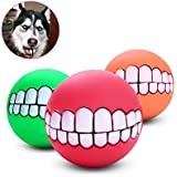 Pets Empire Funny Pet Dogs Teeth Pattern Balls Chew Toy Squeaker Squeaky Sound Bite Resistant Dogs Training Toys, 1 Piece Color May Vary
