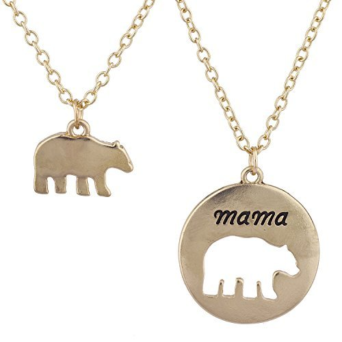 Lux Accessoires Dor? Mama Bear Mother Daughter Charm pendentif Collier 2PC