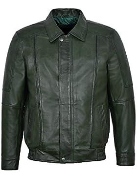 Cazadora bomber de cuero de cordero verde oscuro 6011 de Joshua New Man para hombre