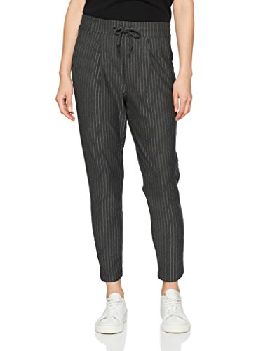 ONLY Damen Hose 15136329, Mehrfarbig (Dark Grey Melange), WNA/L30(Herstellergröße:L) (Nadelstreifen-kordelzug)