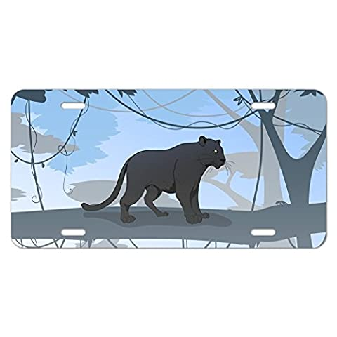 Black Panther Leopard Jaguar Forest Novelty Metal Vanity Tag License Plate
