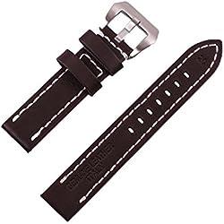 ygdz 20mm Uhrenarmband Italien Kalb Leder handgefertigt Riemen mit Farbe braun. Silber Schnalle.