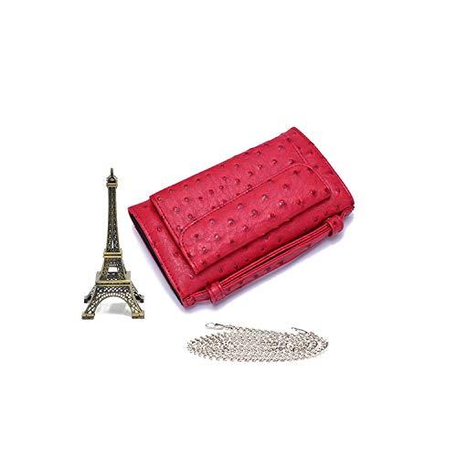 Fantasty-Ubiquity Luxuriöse Umhängetasche aus echtem Python-Leder mit Schlangenleder-Kette, Straußenrot - Größe: Einheitsgröße -