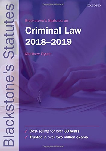 Blackstone's Statutes on Criminal Law 2018-2019 (Blackstone's Statute Series)