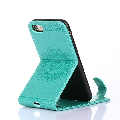 Cover per iPhone 7 4.7 Fiori Custodia,BtDuck Ultra Sottile PU Pelle Shell Disegno Mandala Datura fiori Retro protettivi Bumper Covers Caso per iPhone 7 4.7 Chiusura Magnetica Snap-on ID Carte di Credi #3 Verde