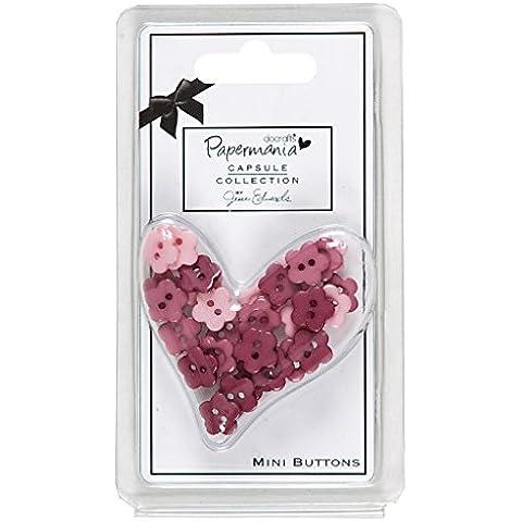 Papermania Capsule–Mini Daisy (30pcs)–Pequeño Botones de plástico decorativo, color rosa