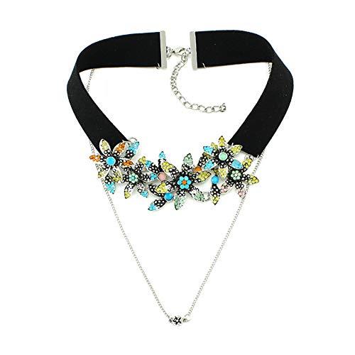 Halskette für Frauen Bunter Blumen-Kristall-PU-falscher Kragen-Anhänger-Entwurfs-Halsband-Dame Costum Aussage-Halsketten-Abend-Kleid, das zusammenpaßt Boutique Pullover Anhänger ( Farbe : Schwarz )