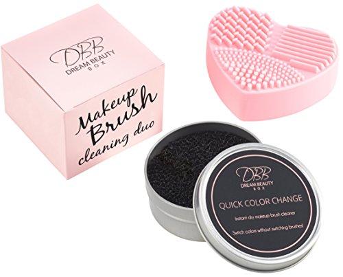 Make-up Pinsel Reinigung Kit - der rosafarbene Silikon-Reinigungsmatte und der trockene Quick Color Change Schwamm entfernen sofort jede Kosmetik von den Pinseln; Farbwechsel ohne Pinselwechsel