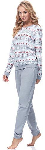 Ladeheid Damen Schlafanzug LA40-103 Muster-6 Grau