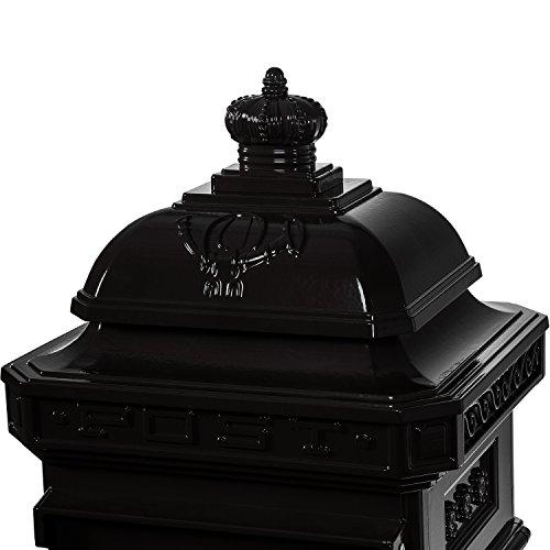 Maxstore Antiker englischer Standbriefkasten, rostfreies Aluminium, Höhe: 102,5 cm, Farbe: Anthrazit, 3 Jahre Garantie anthrazit - 5