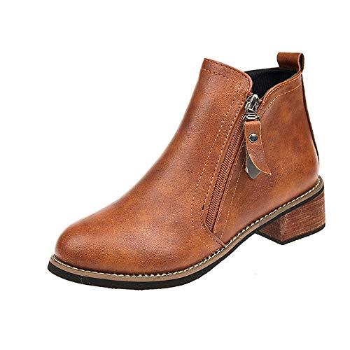 MYMYG Stiefel Damen Feste Starke Ferse Reißverschluss Kurze Stiefel Runde Spitze Schuhe Chelsea Boots Warm Knöchelschuhe Wasserdichte ()