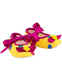 Daizy Yellow Polka dot Booties in Satin Ribbon