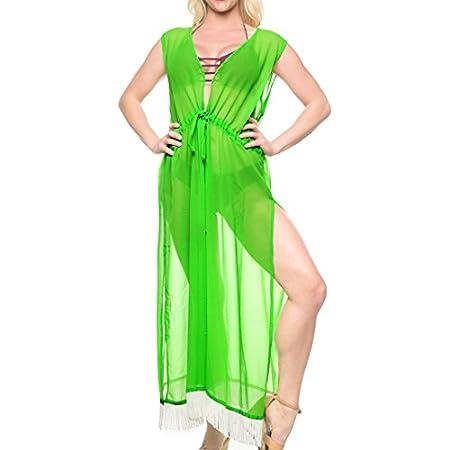 LA LEELA Couverture en Mousseline de Soie Pure à Long Bikini Maillots de Bain Cardigan Kimono jusqu'à Manches