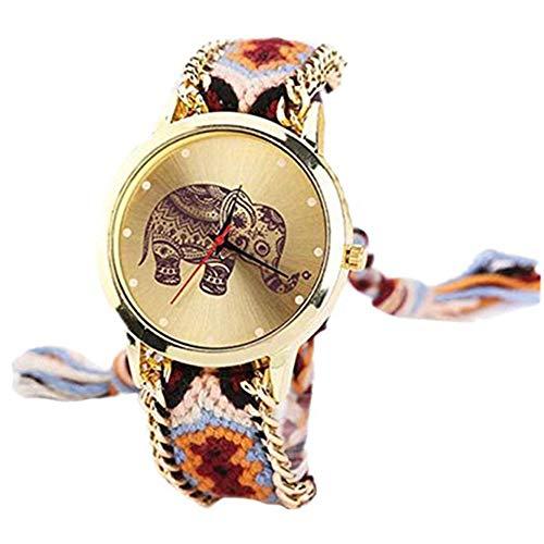 Gysad Reloj de Pulsera Estilo Hippie Reloj de Cuarzo Mujer Diseño de tejiendo Reloj de Pulsera Mujer Patrón de Elefante Reloj de Cuarzo Vintage