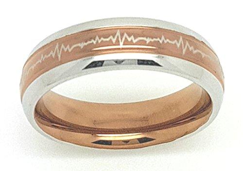 Unbekannt Schmucktrendzone Edelstahlring, Herzschlag, braune PVD Beschichtung, antiallergen, Nr.90002773