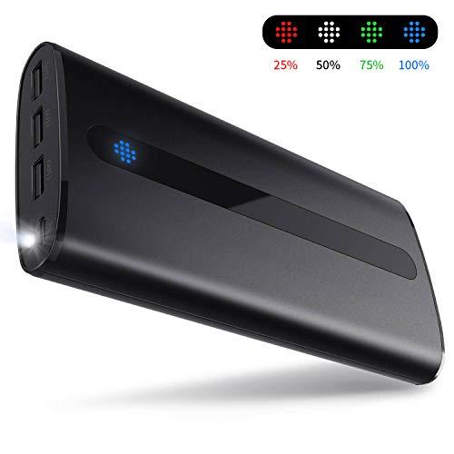 Sipu Powerbank, 24000mAh Portable Handy-Ladegerät Externe Batterie mit 2.1A Input Port, LED-Leuchten und 3 Lade-Ports für Smartphone, iPad etc, Schwarz