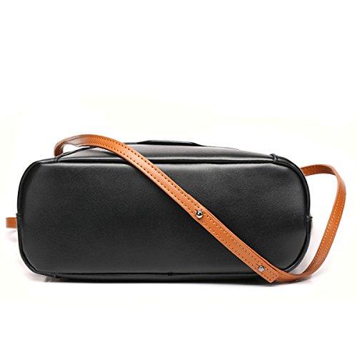 ZPFME Womens Handtasche Rindsleder Eimer Tasche Einkaufstasche Einfach Schultertasche Mädchen Party Retro Damen Mode Handtaschen Black