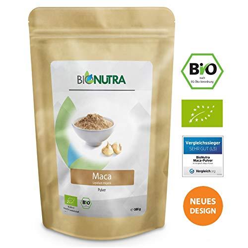 BioNutra Maca-Pulver Bio, Original aus Peru, fein gemahlenes Maca, Macapulver in kontrollierter Qualität aus biologischem Anbau, Vergleichssieger 2018